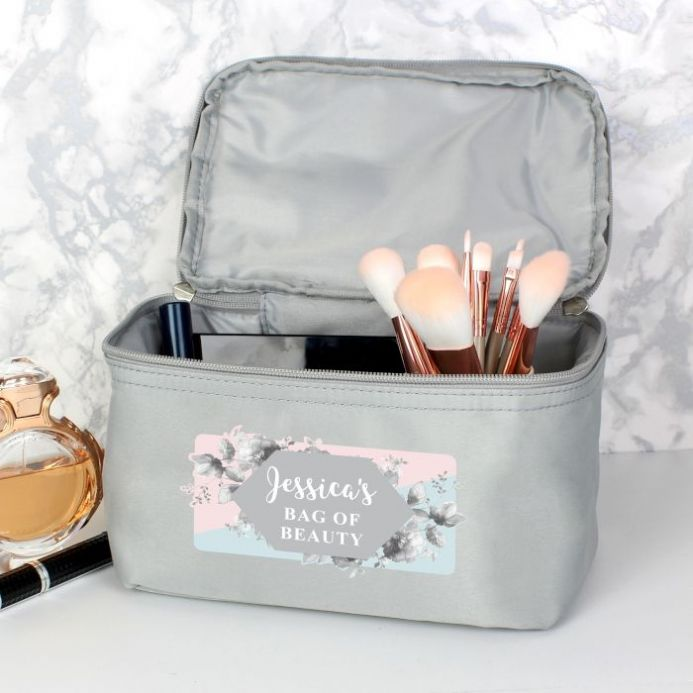 Floral Grey Make Up Wash Bag